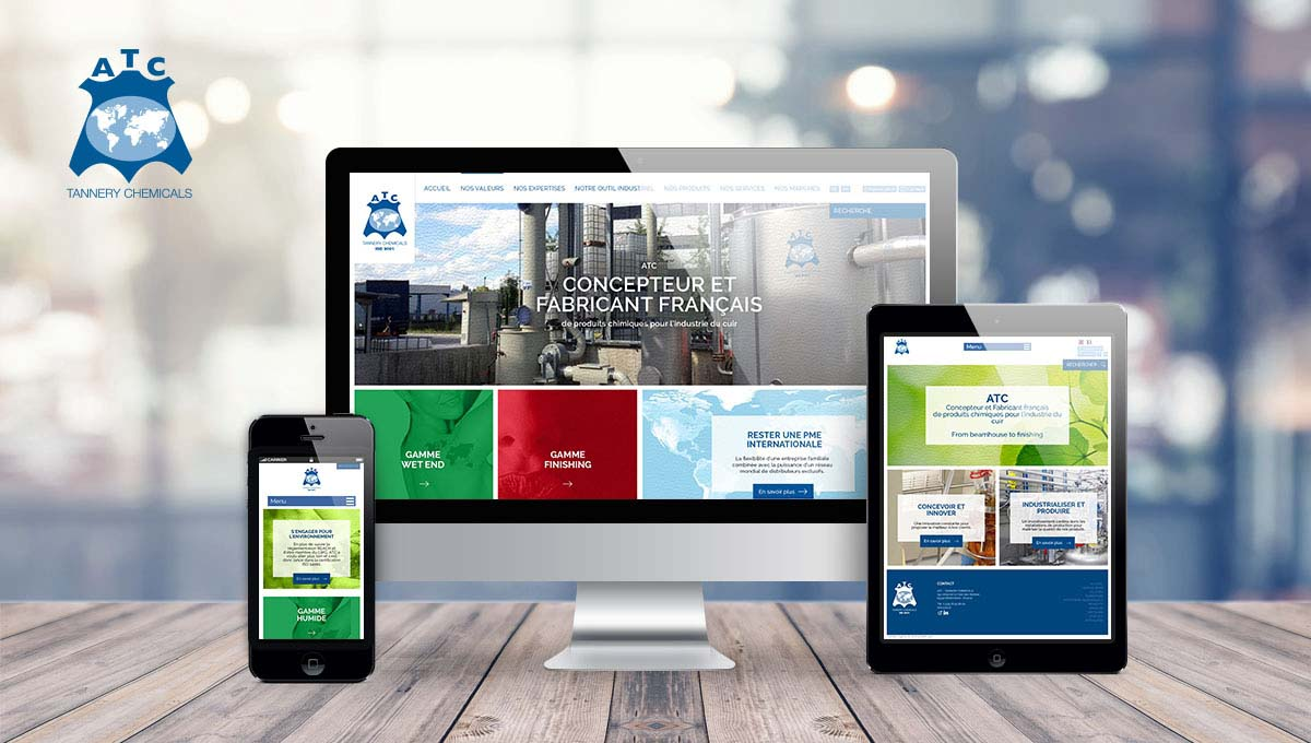 Agence Comete création Site vitrine : Site internet pour ATC - Tannery chemicals