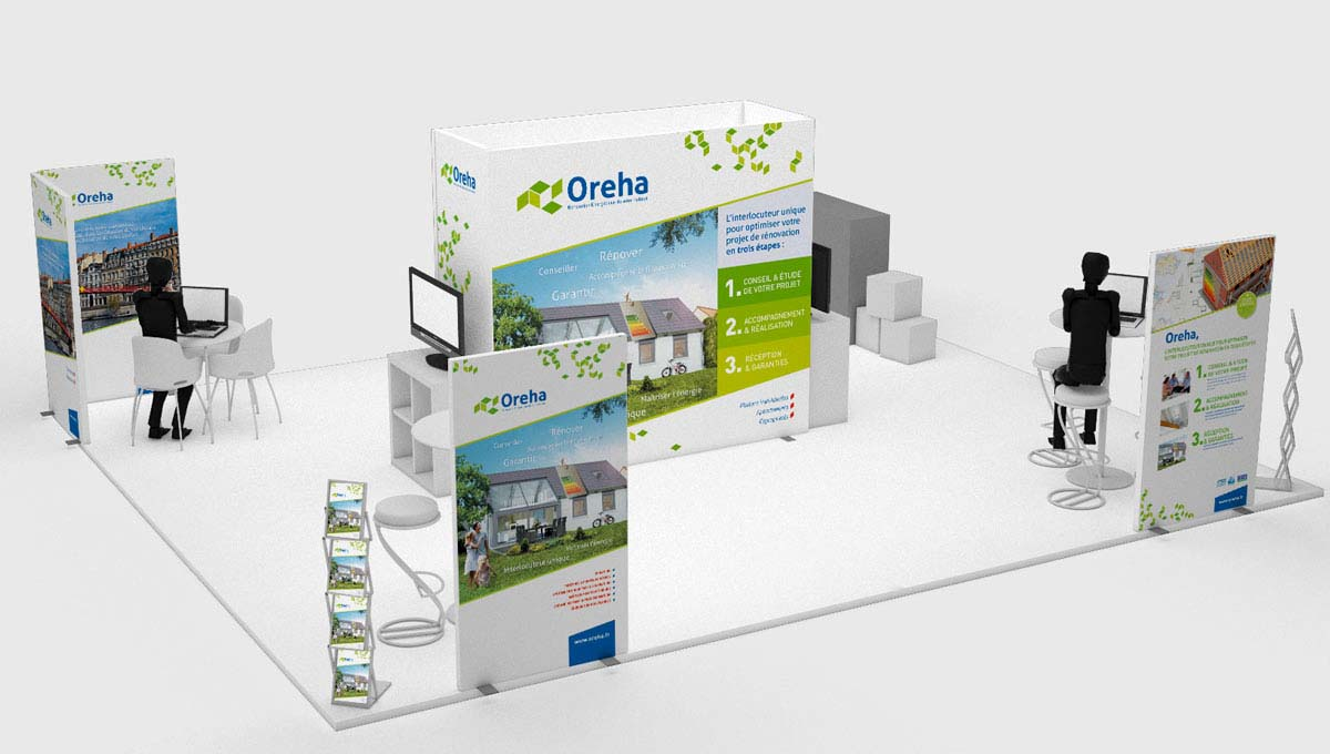 Agence Comete création Stand Oreha : Stands modulaires pour Oreha