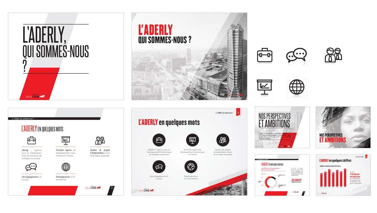 Agence Comete création slide powerpoint :  pour Aderly - Powerpoint
