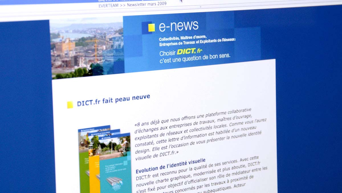 Agence Comete création Newsletter mensuelle : Newsletter / Display pour DICT.fr