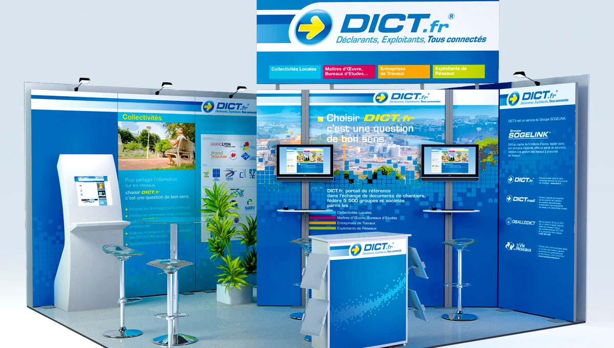 Agence Comete création Stand Dict.fr : Stands modulaires pour DICT.fr