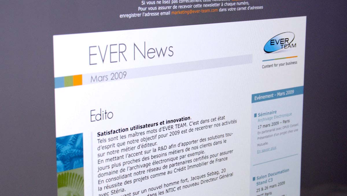 Agence Comete création Newsletter trimestrielle : Newsletter / Display pour EverTeam