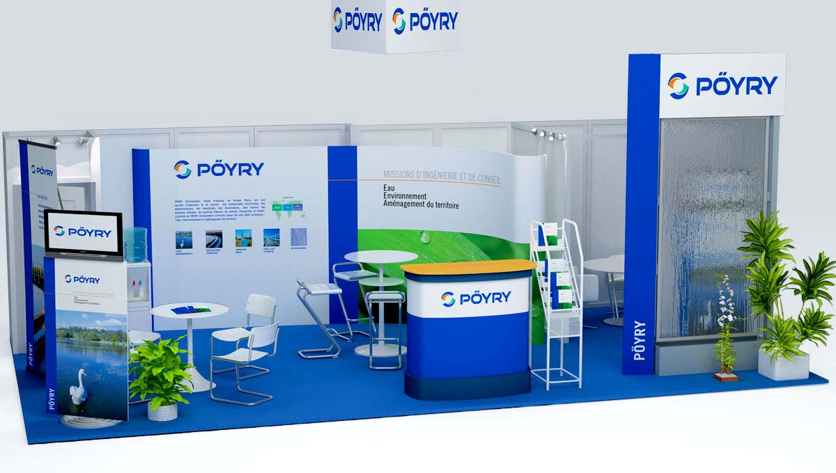 Agence Comete création Stand Poyry : Stands modulaires pour Pöyry